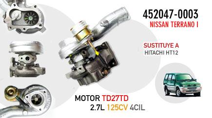 Turbo de sustitución para Nissan Terrano I - Motor TD27TD